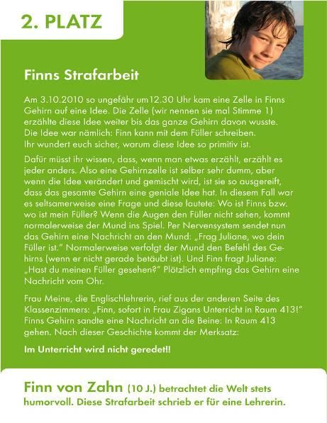 2. Platz Finn von Zahn